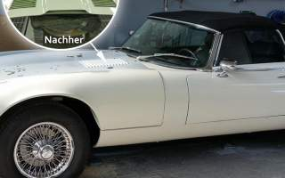 Jaguar E-Type Cabrio in der S.K. Lackiererei